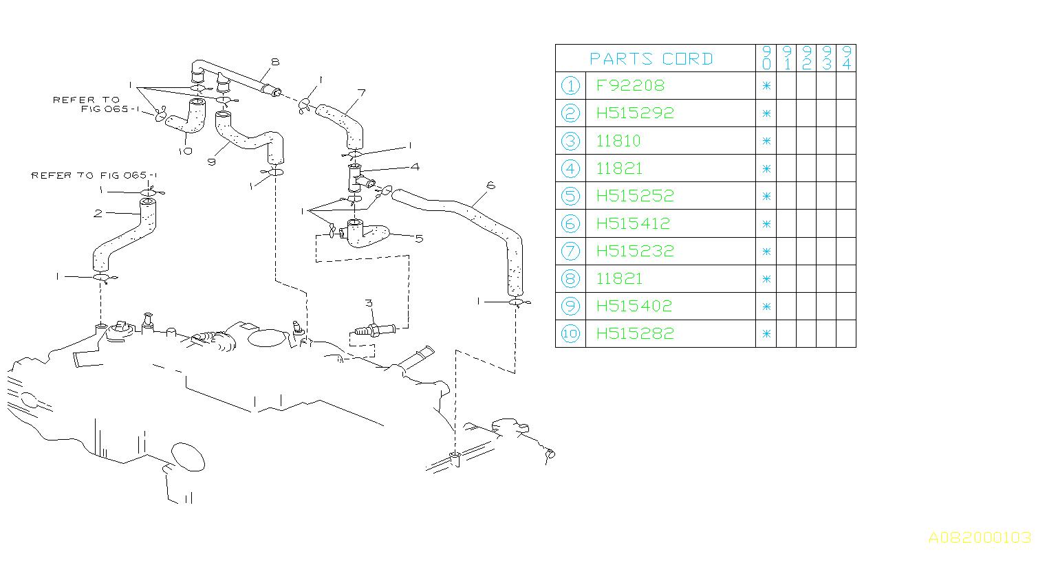 Subaru       Loyale    Connectorpcv hose 14 Control  emission  11821AA040      Subaru    Parts Superstore
