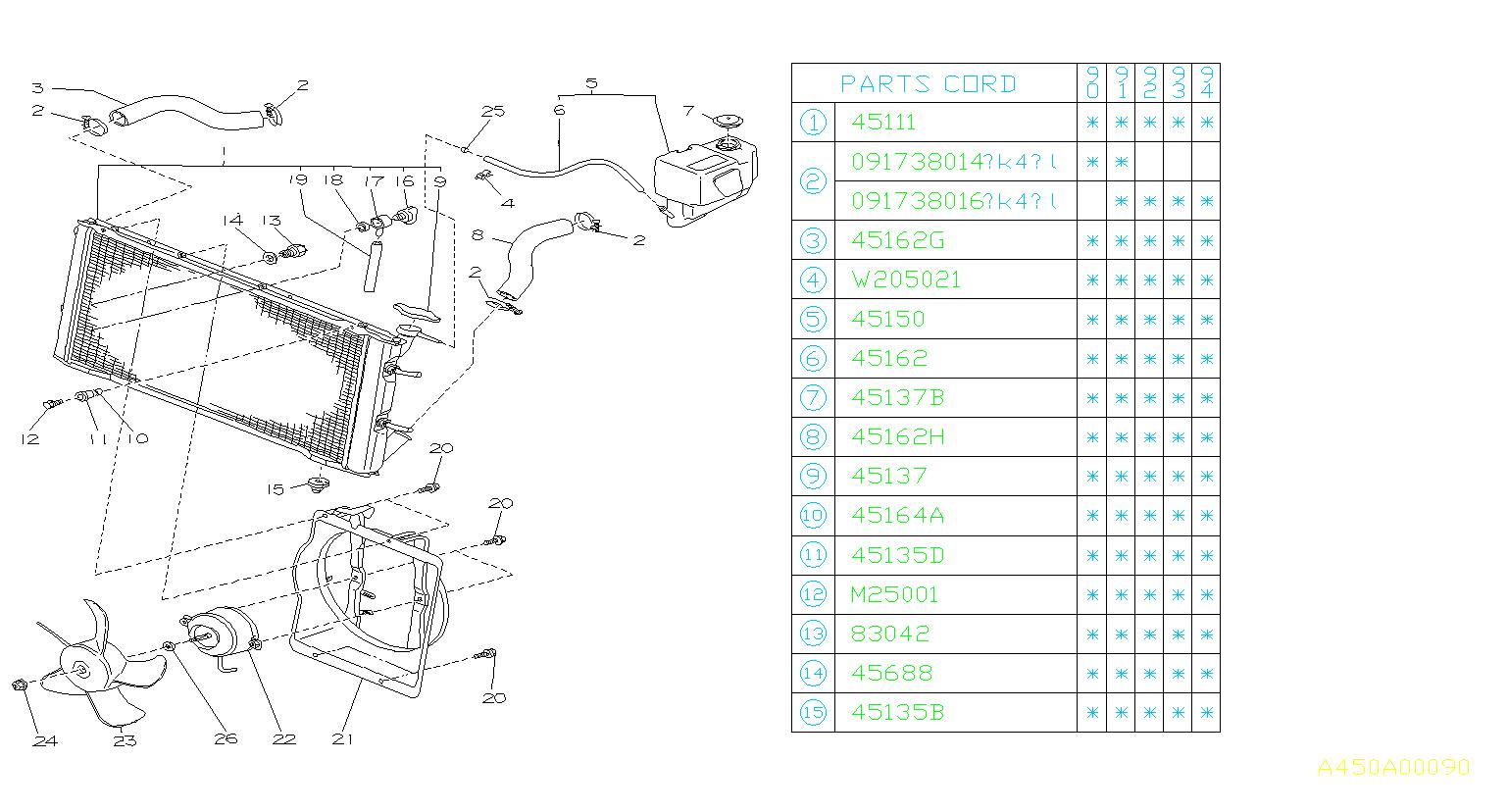 Subaru       Loyale    Spacerradiator    Engine     cooling  45139GA010      Subaru    Parts Superstore