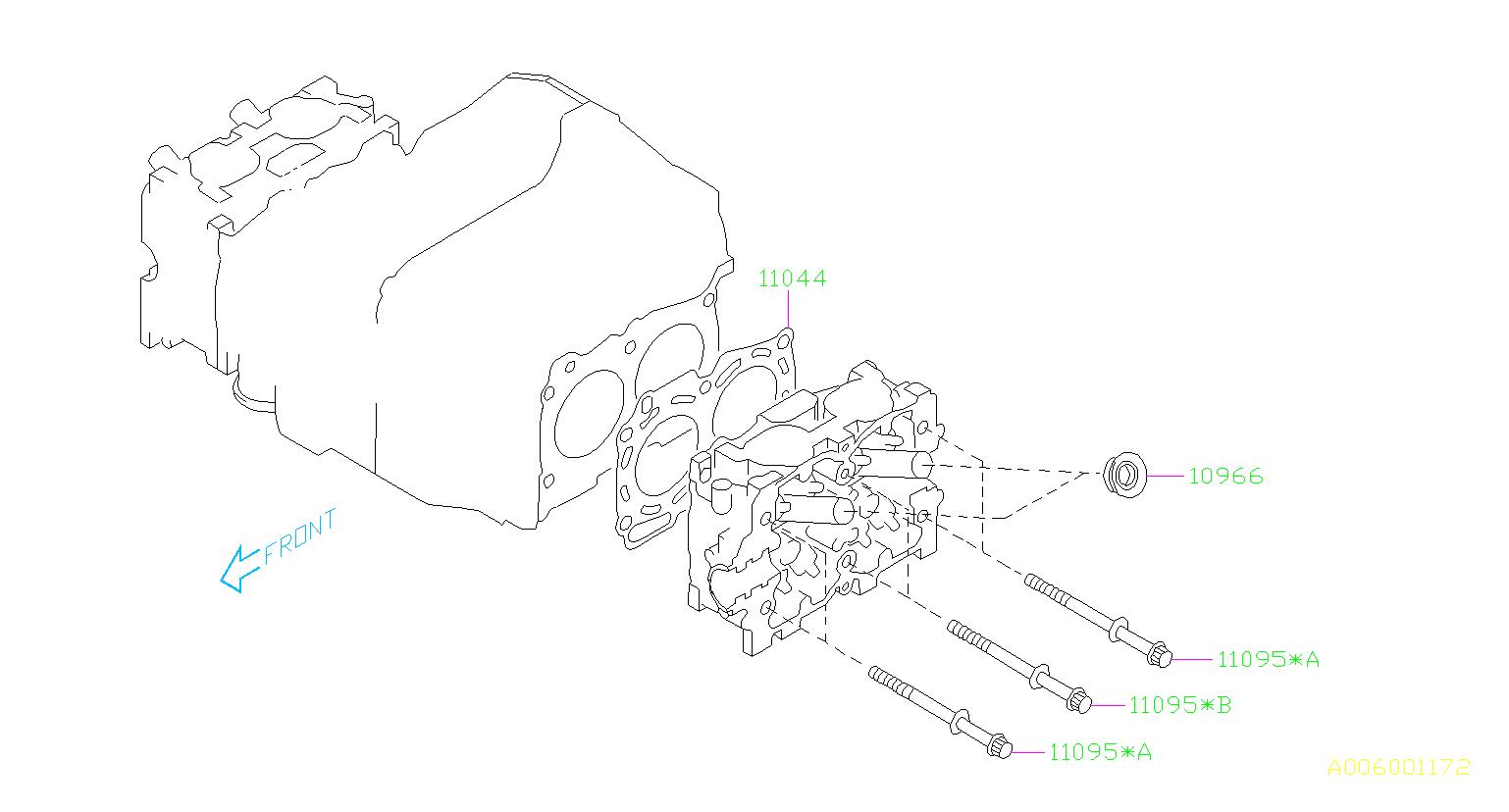 2005 subaru legacy bolt assembly-cylinder head  system  engine  cooling