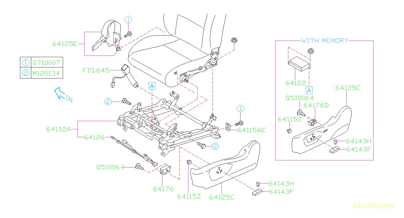 Subaru Legacy Power Seat Wiring Harness  Left