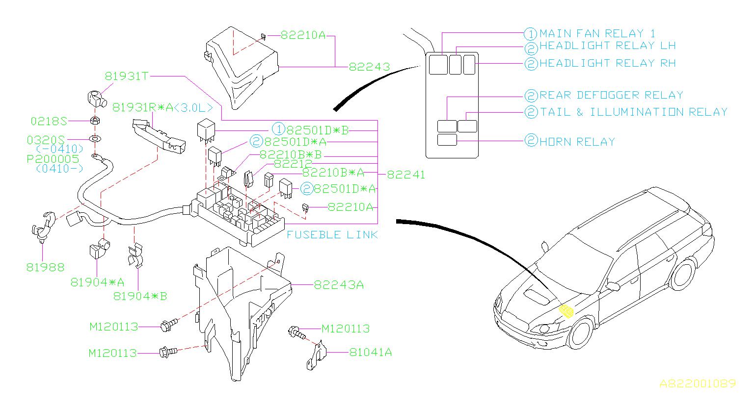 B13_82201089  Wiring Harness For A Subaru Alternator Diagram on