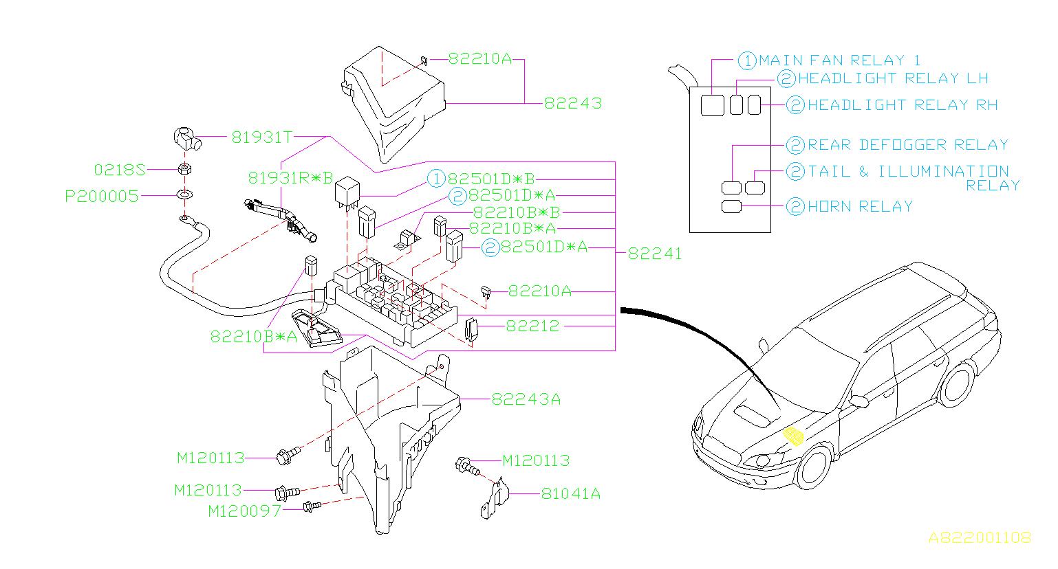 Subaru Legacy Accessory Power Relay. BOX, FUSE, MAIN ...