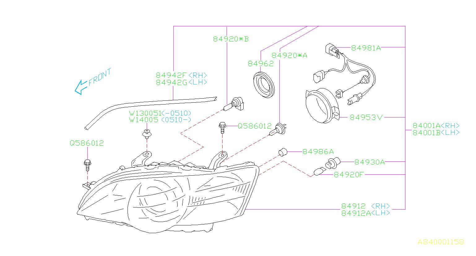Subaru Legacy Headlight Wiring Harness  Lamp  Cord  Unit