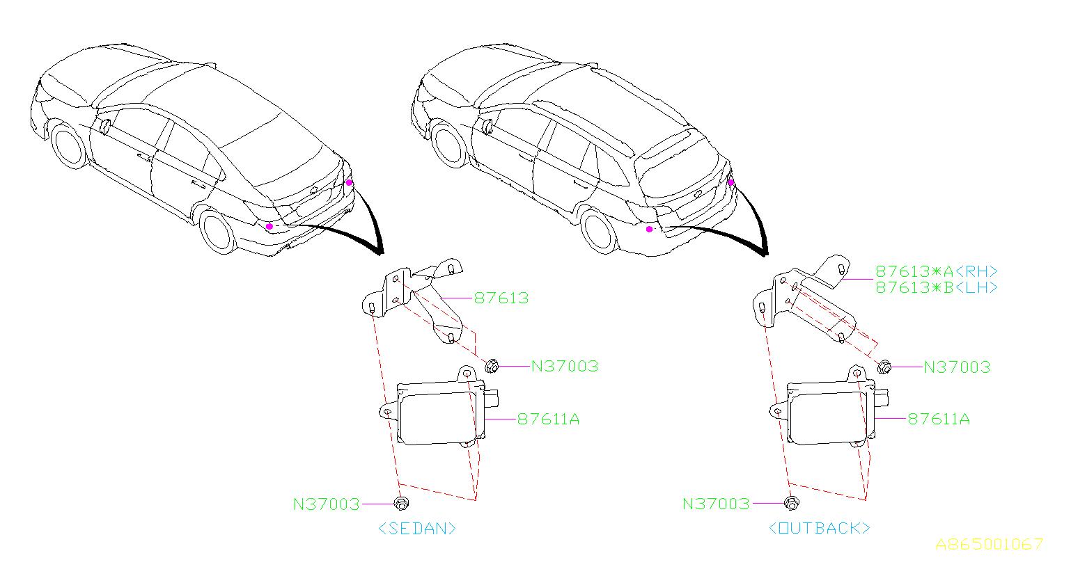 Subaru Outback Radar Assembly Back And Side System Rcta