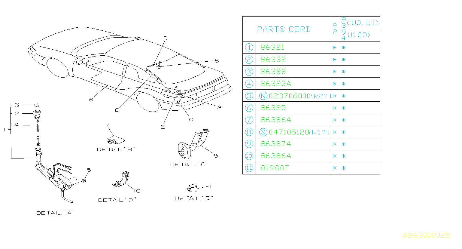 Subaru Svx Sunroof Drain Hose Clip