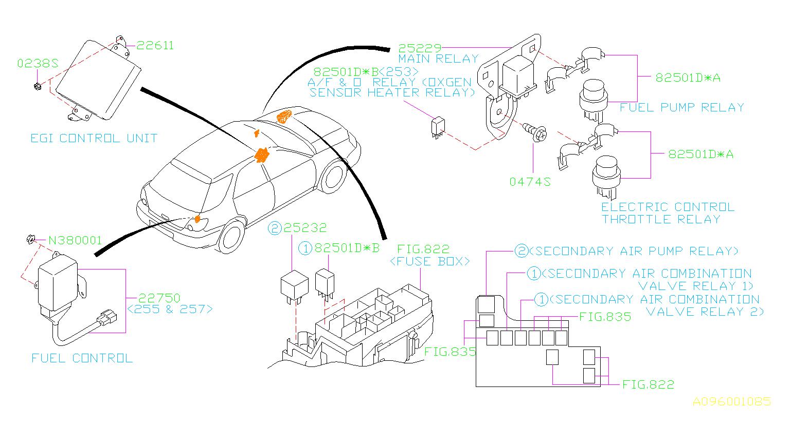 Subaru Wrx Engine Control Module  Sensor  Relay  Unit