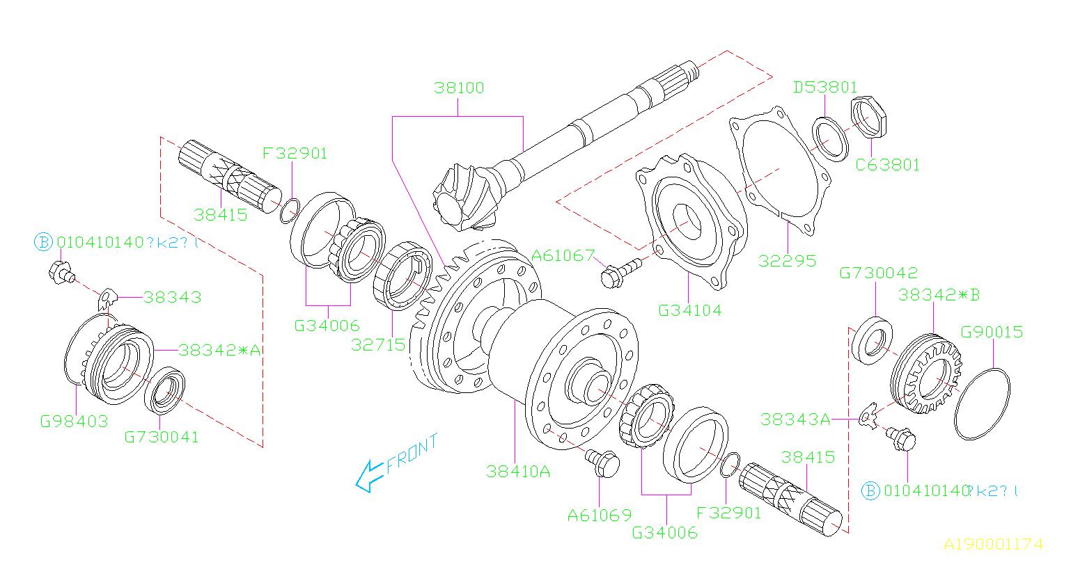 Subaru Impreza Shaft Axle Drive  2wd-turbo  U0026 4wd Exc  Differential  Transmission