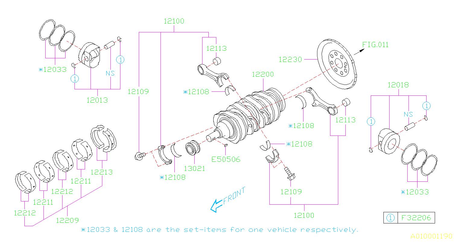 subaru impreza bearing set connecting rod crankshaft. Black Bedroom Furniture Sets. Home Design Ideas