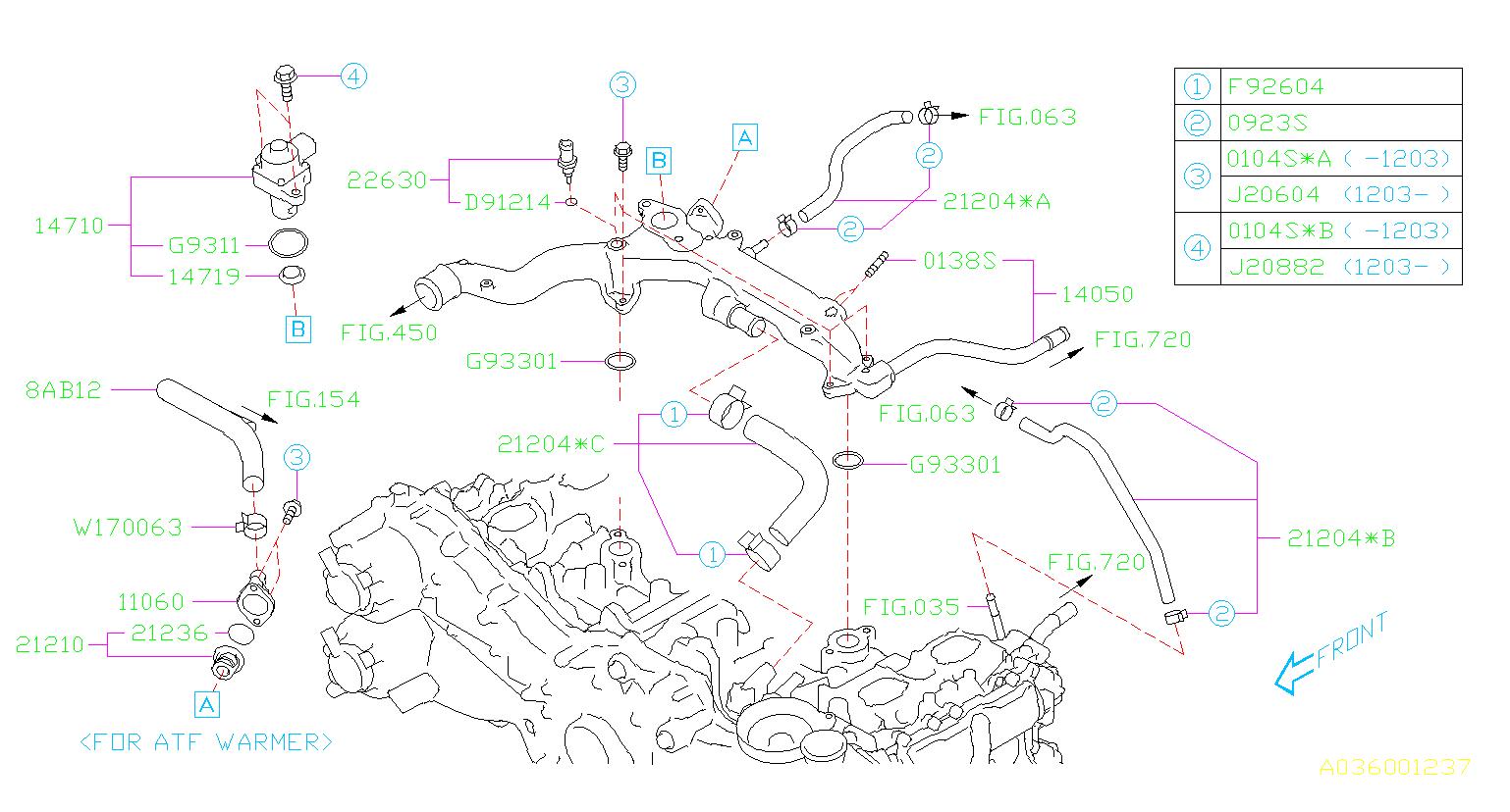 Subaru       Impreza    Sensor assemblytemperature Pipe  water