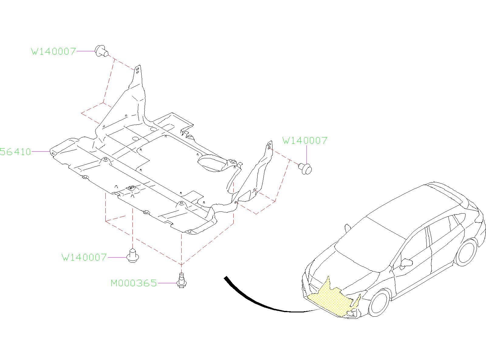 Subaru Impreza Under Cover COM. (Front). EXHAUST, Body ...