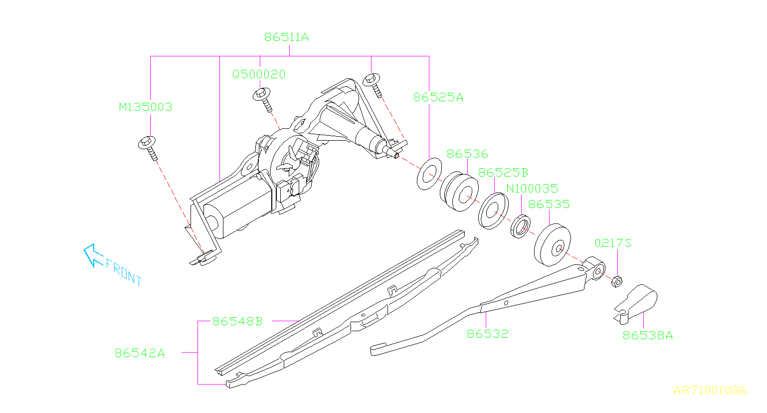 Subaru Forester Back Glass Wiper Arm Cover  Rear