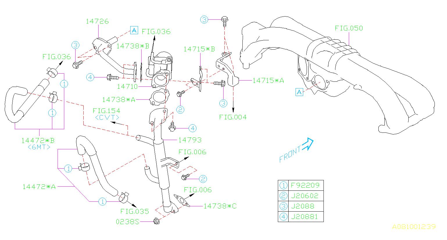 Subaru Wrx Egr Valve Bracket  Control  Component