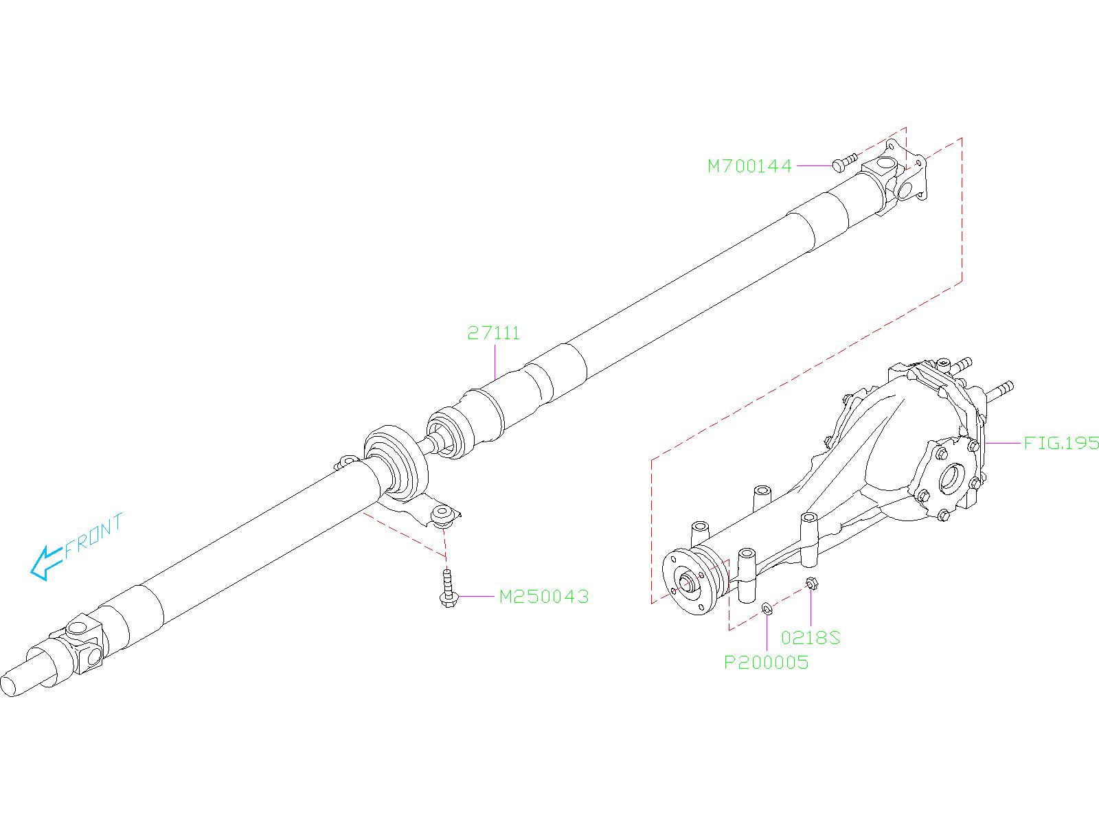 subaru ascent propeller shaft assembly  driveline