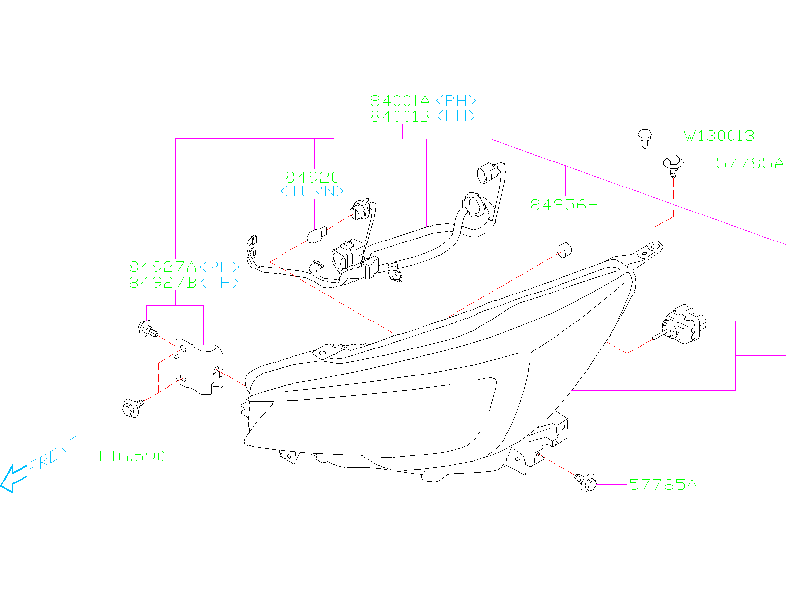 Subaru Ascent Lamp Assembly Head Right Led Halogen